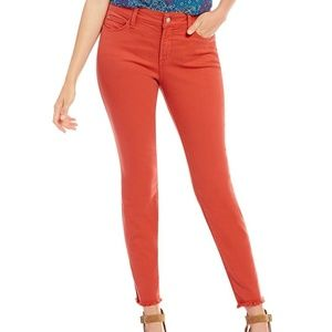 NYDJ Alina Ankle Jeans Fray Hem Orange